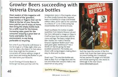 SIBA Journal - GROWLER BEERS SUCCEEDING WITH VETRERIA ETRUSCA BOTTLES